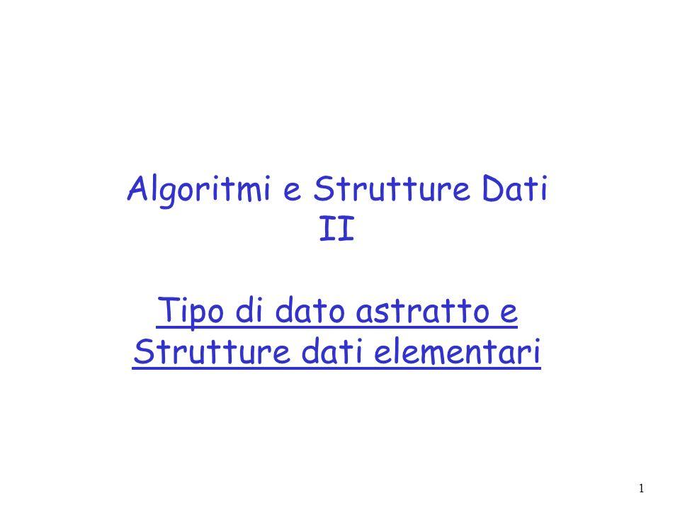 1 Algoritmi e Strutture Dati II Tipo di dato astratto e Strutture dati elementari