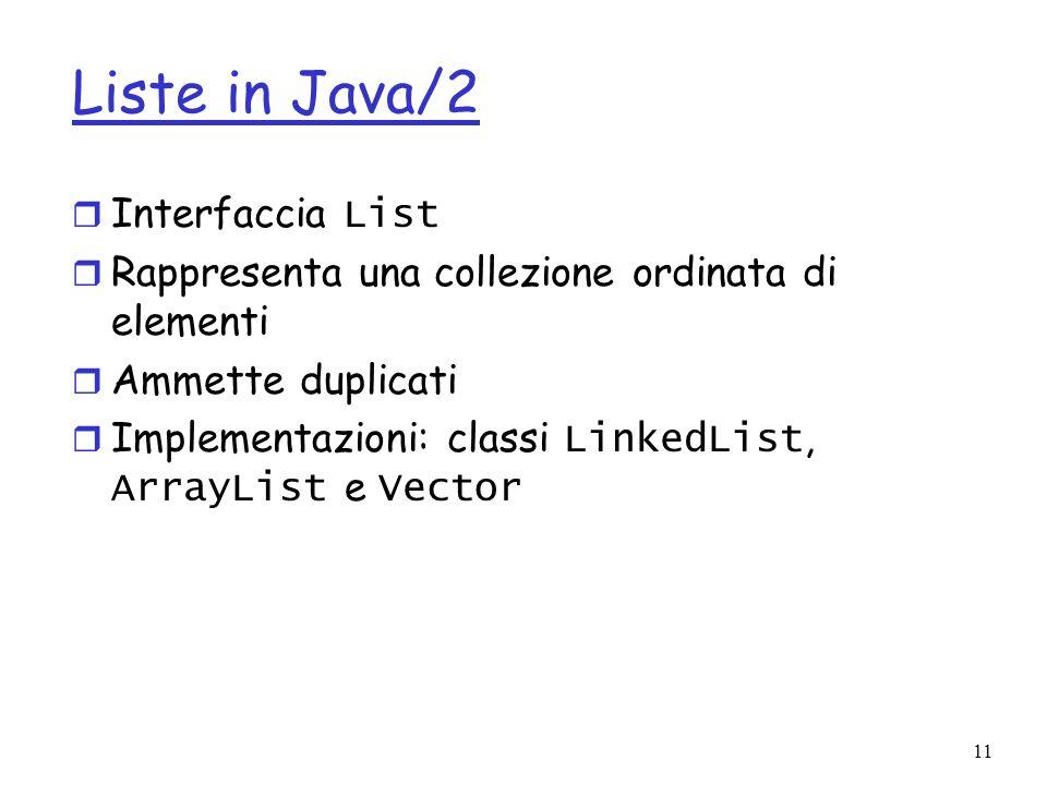 11 Liste in Java/2 Interfaccia List r Rappresenta una collezione ordinata di elementi r Ammette duplicati Implementazioni: classi LinkedList, ArrayList e Vector