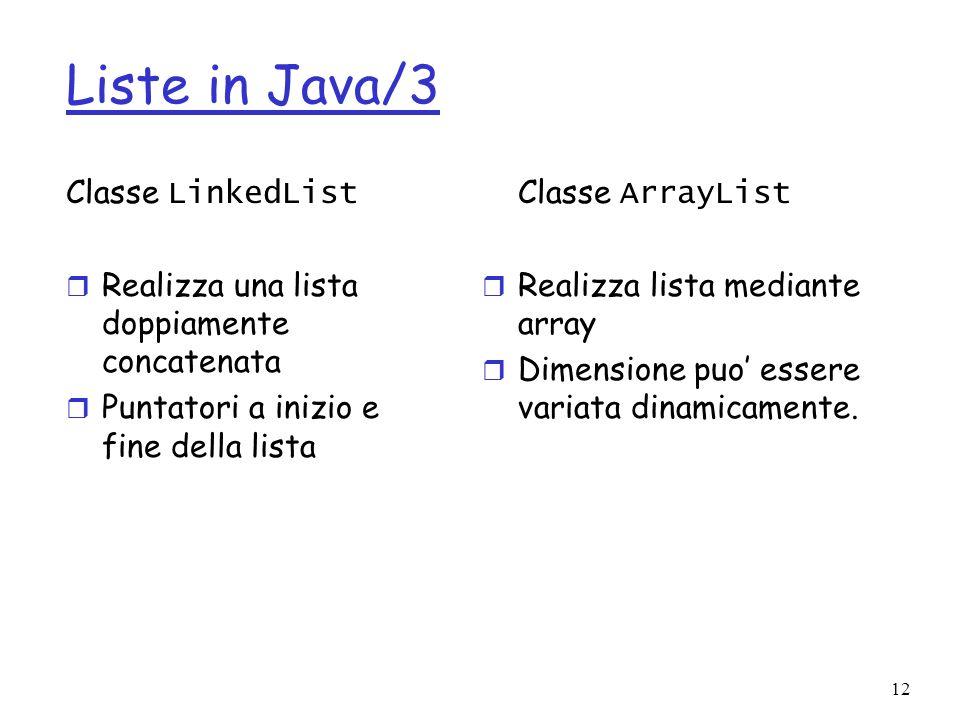 12 Liste in Java/3 Classe LinkedList r Realizza una lista doppiamente concatenata r Puntatori a inizio e fine della lista Classe ArrayList r Realizza lista mediante array r Dimensione puo essere variata dinamicamente.