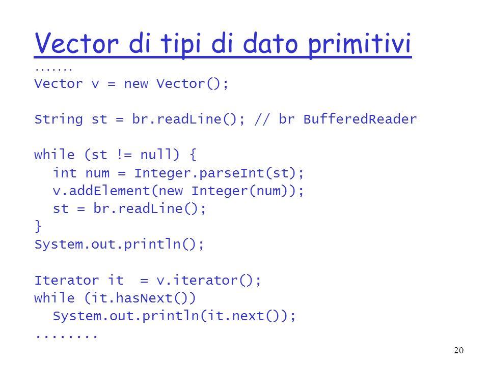 20 Vector di tipi di dato primitivi.......