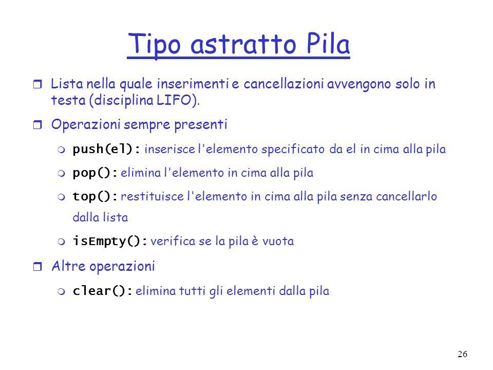 26 Tipo astratto Pila r Lista nella quale inserimenti e cancellazioni avvengono solo in testa (disciplina LIFO).