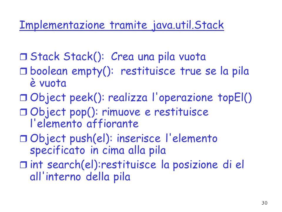 30 Implementazione tramite java.util.Stack r Stack Stack(): Crea una pila vuota r boolean empty(): restituisce true se la pila è vuota r Object peek(): realizza l operazione topEl() r Object pop(): rimuove e restituisce l elemento affiorante r Object push(el): inserisce l elemento specificato in cima alla pila r int search(el):restituisce la posizione di el all interno della pila