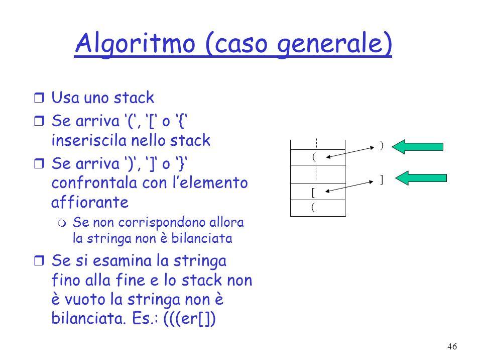 46 Algoritmo (caso generale) r Usa uno stack r Se arriva (, [ o { inseriscila nello stack r Se arriva ), ] o } confrontala con lelemento affiorante m Se non corrispondono allora la stringa non è bilanciata r Se si esamina la stringa fino alla fine e lo stack non è vuoto la stringa non è bilanciata.