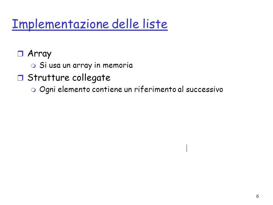 6 Implementazione delle liste r Array m Si usa un array in memoria r Strutture collegate m Ogni elemento contiene un riferimento al successivo