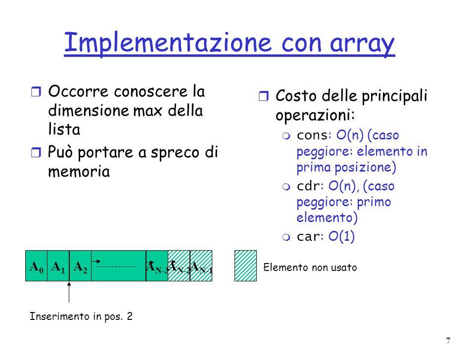 7 Implementazione con array r Occorre conoscere la dimensione max della lista r Può portare a spreco di memoria r Costo delle principali operazioni: cons : O(n) (caso peggiore: elemento in prima posizione) cdr : O(n), (caso peggiore: primo elemento) car : O(1) Inserimento in pos.