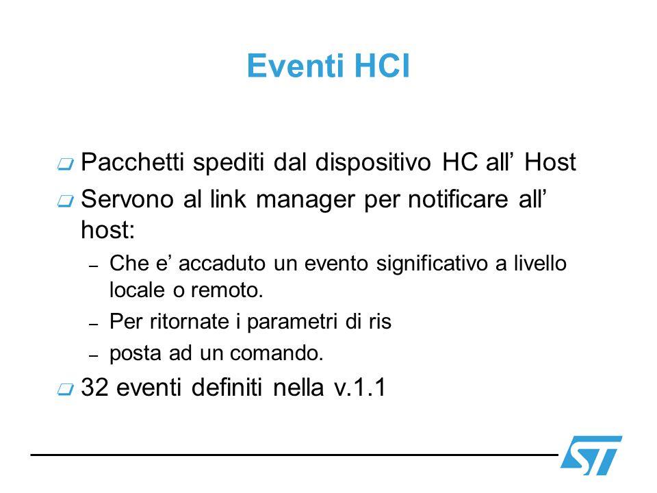 Eventi HCI Pacchetti spediti dal dispositivo HC all Host Servono al link manager per notificare all host: – Che e accaduto un evento significativo a l