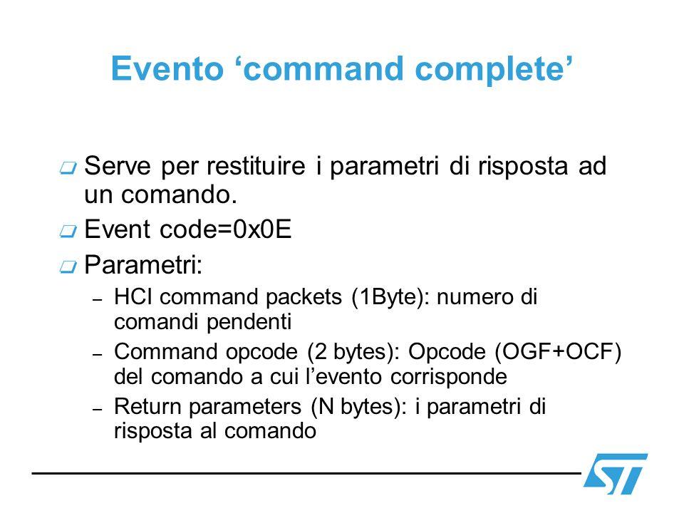 Evento command complete Serve per restituire i parametri di risposta ad un comando. Event code=0x0E Parametri: – HCI command packets (1Byte): numero d
