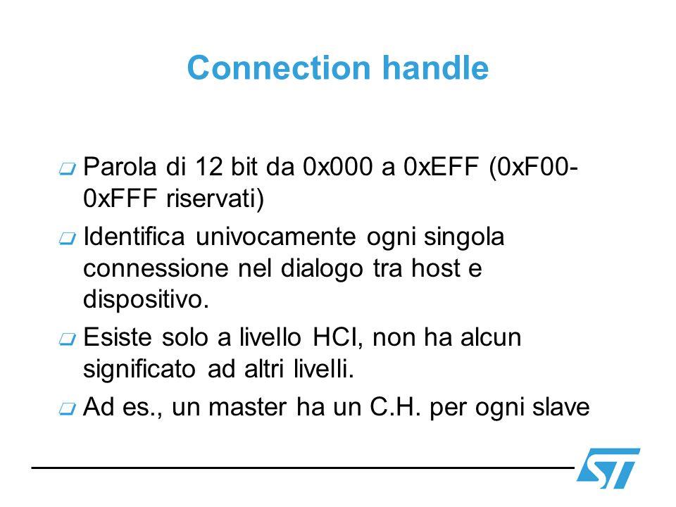 Connection handle Parola di 12 bit da 0x000 a 0xEFF (0xF00- 0xFFF riservati) Identifica univocamente ogni singola connessione nel dialogo tra host e d