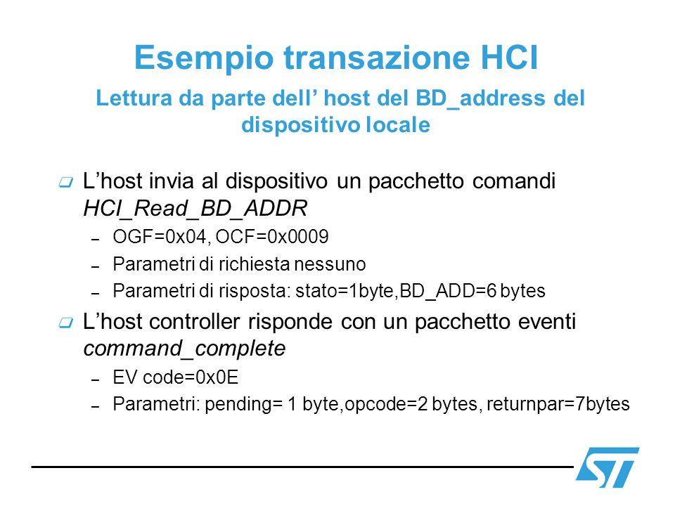 Esempio transazione HCI Lettura da parte dell host del BD_address del dispositivo locale Lhost invia al dispositivo un pacchetto comandi HCI_Read_BD_A