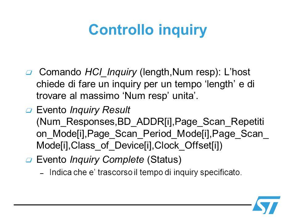 Controllo inquiry Comando HCI_Inquiry (length,Num resp): Lhost chiede di fare un inquiry per un tempo length e di trovare al massimo Num resp unita. E