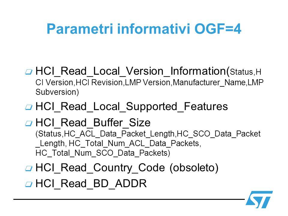 Parametri informativi OGF=4 HCI_Read_Local_Version_Information( Status,H CI Version,HCI Revision,LMP Version,Manufacturer_Name,LMP Subversion) HCI_Rea