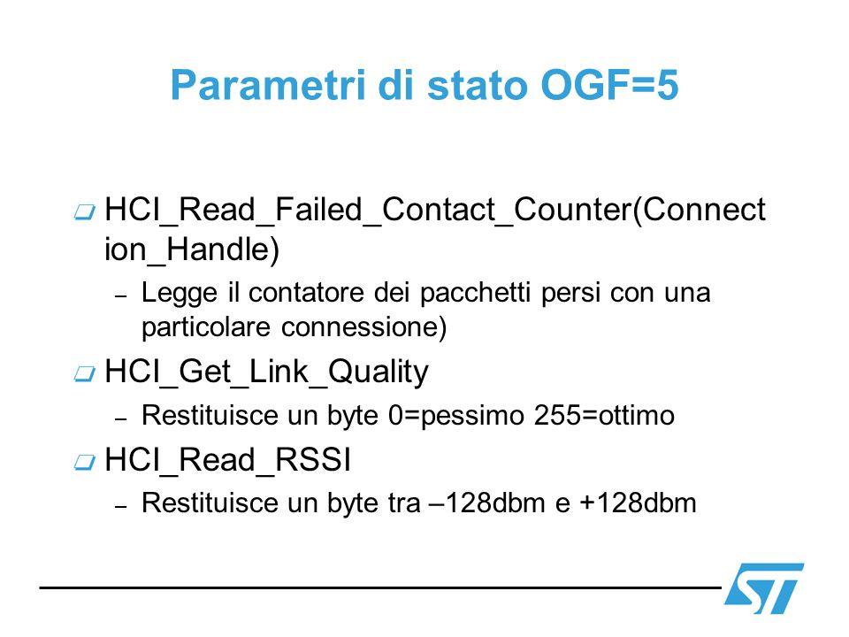 Parametri di stato OGF=5 HCI_Read_Failed_Contact_Counter(Connect ion_Handle) – Legge il contatore dei pacchetti persi con una particolare connessione)