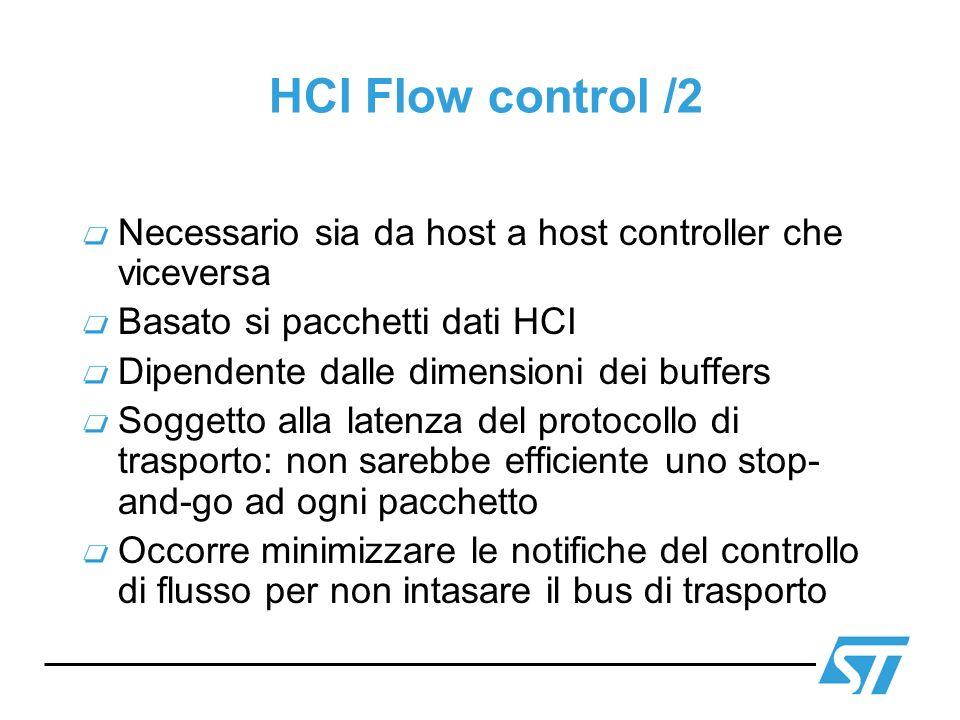 HCI Flow control /2 Necessario sia da host a host controller che viceversa Basato si pacchetti dati HCI Dipendente dalle dimensioni dei buffers Sogget