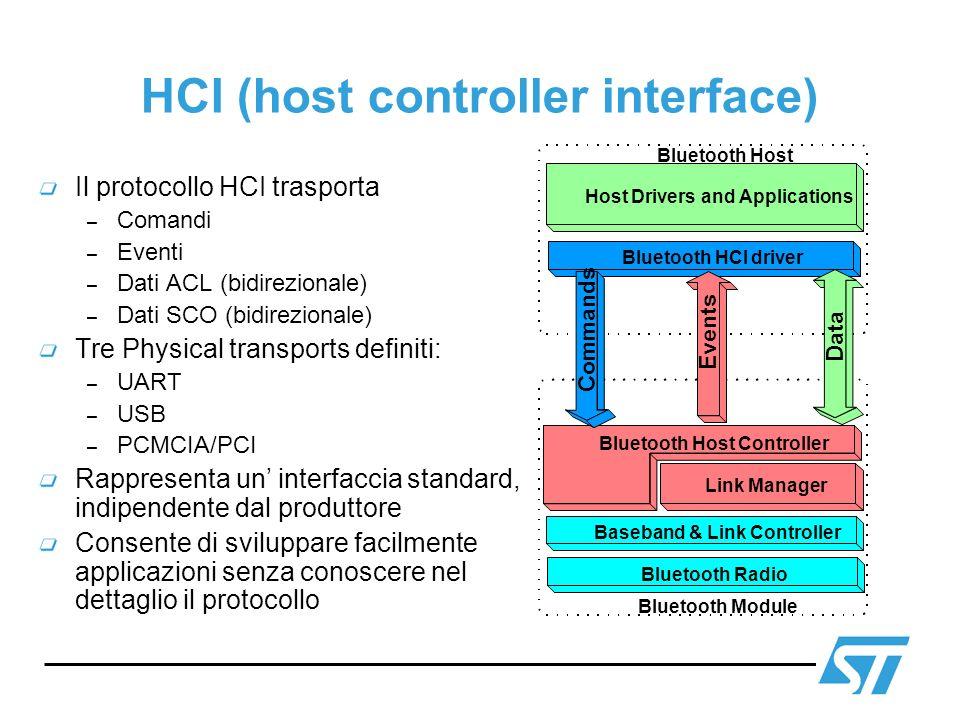 HCI (host controller interface) Il protocollo HCI trasporta – Comandi – Eventi – Dati ACL (bidirezionale) – Dati SCO (bidirezionale) Tre Physical tran