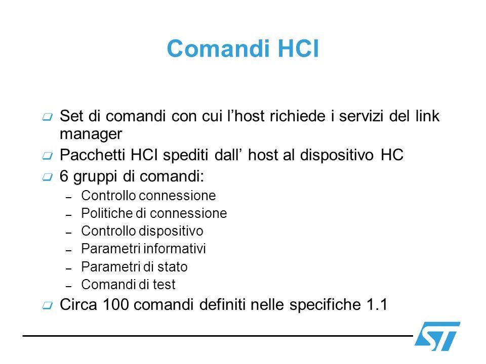 Comandi HCI Set di comandi con cui lhost richiede i servizi del link manager Pacchetti HCI spediti dall host al dispositivo HC 6 gruppi di comandi: –