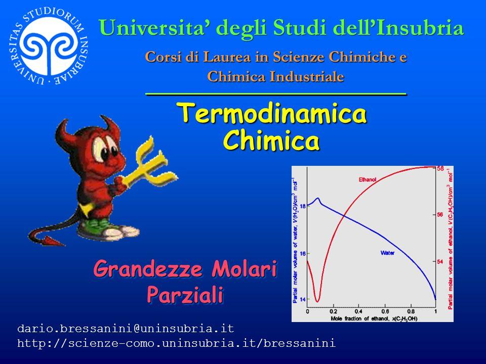 © Dario Bressanini12 Consideriamo il numero di moli una quantita variabile.