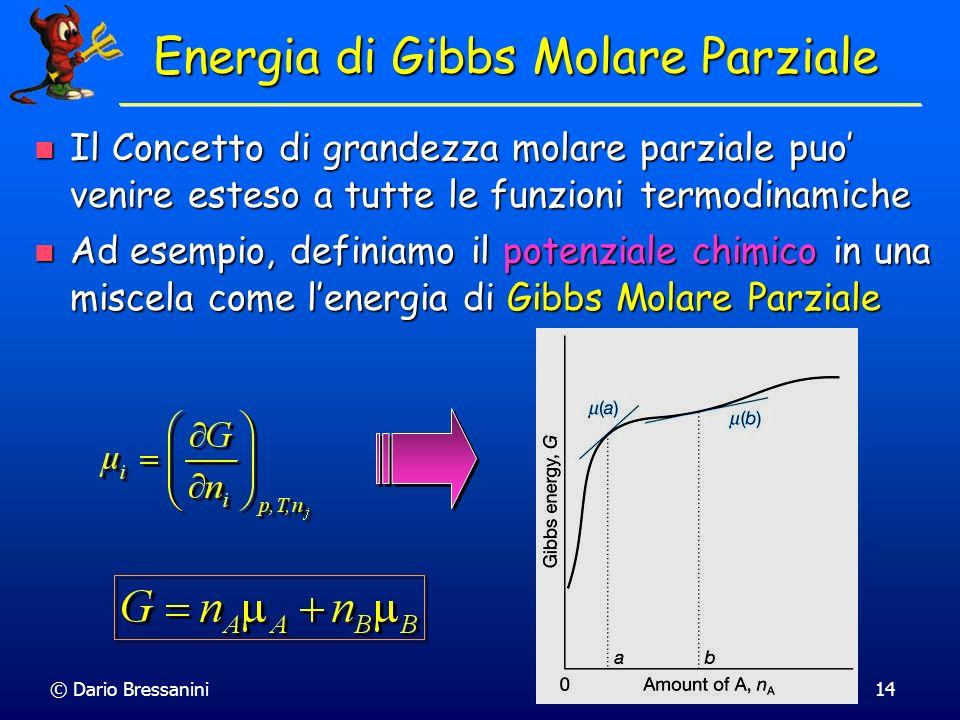 © Dario Bressanini14 Energia di Gibbs Molare Parziale Il Concetto di grandezza molare parziale puo venire esteso a tutte le funzioni termodinamiche Il