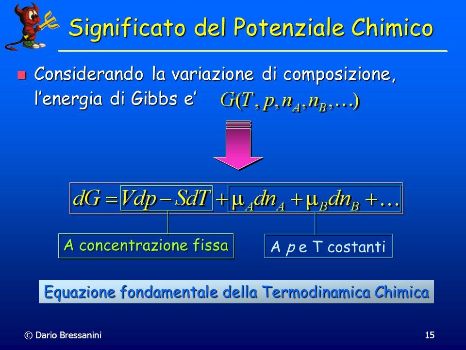 © Dario Bressanini15 Significato del Potenziale Chimico Considerando la variazione di composizione, lenergia di Gibbs e Considerando la variazione di