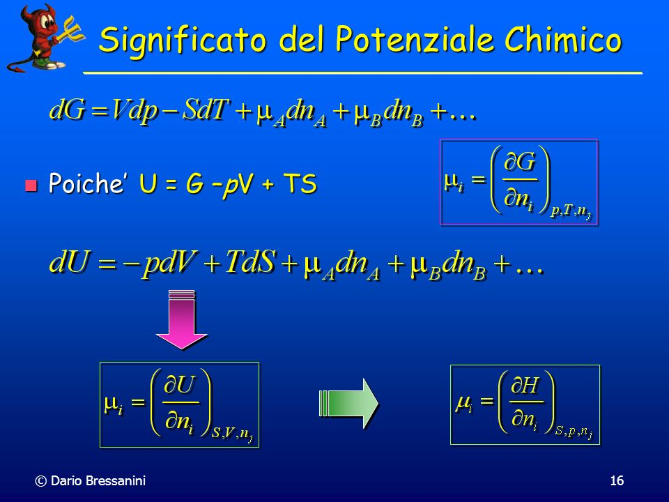© Dario Bressanini16 Significato del Potenziale Chimico Poiche U = G –pV + TS Poiche U = G –pV + TS