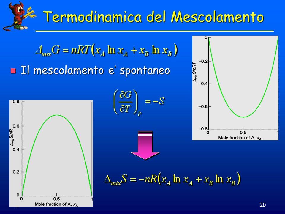 © Dario Bressanini20 Termodinamica del Mescolamento Il mescolamento e spontaneo Il mescolamento e spontaneo