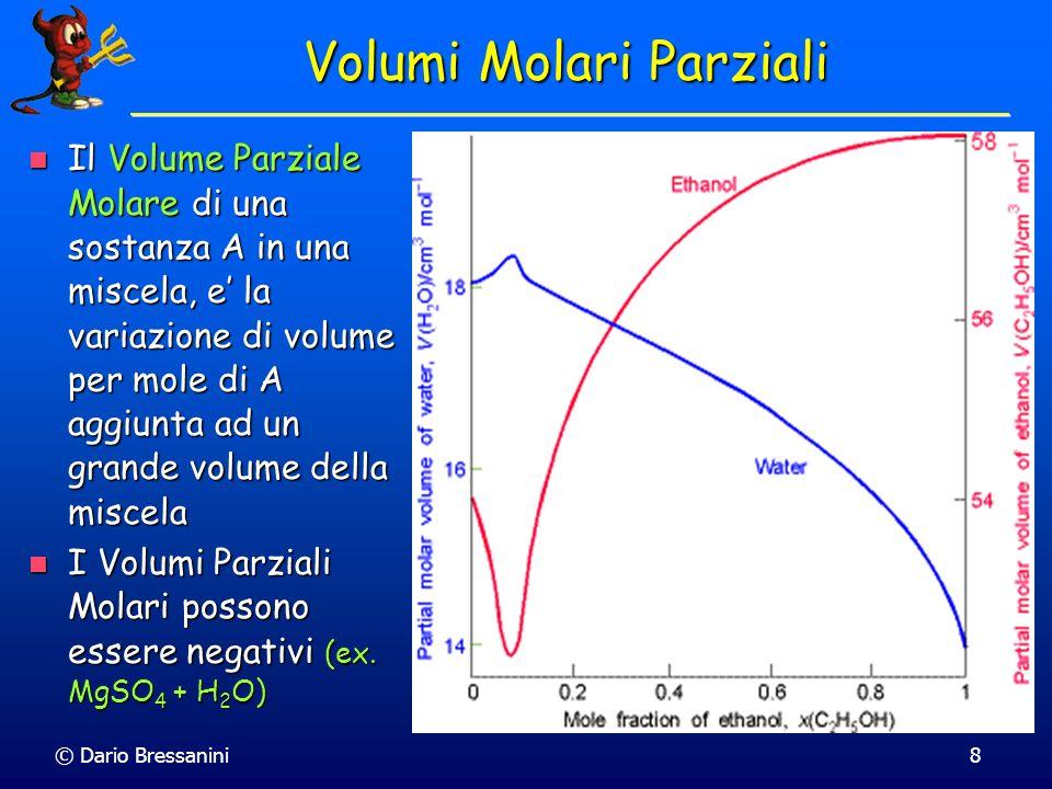 © Dario Bressanini9 Volumi Molari Parziali Per due componenti, tenendo costanti p e T il volume totale e funzione di n A e n B : V(n A,n B ) Per due componenti, tenendo costanti p e T il volume totale e funzione di n A e n B : V(n A,n B ) La variazione infinitesima e (a p e T costanti) La variazione infinitesima e (a p e T costanti)