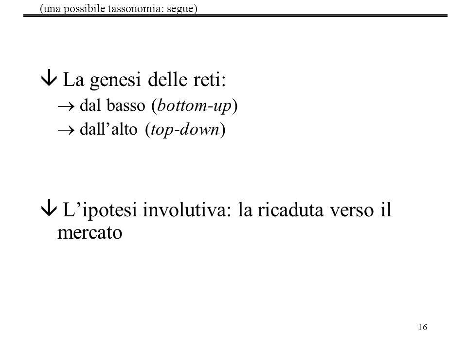 16 â La genesi delle reti: dal basso (bottom-up) dallalto (top-down) â Lipotesi involutiva: la ricaduta verso il mercato (una possibile tassonomia: se