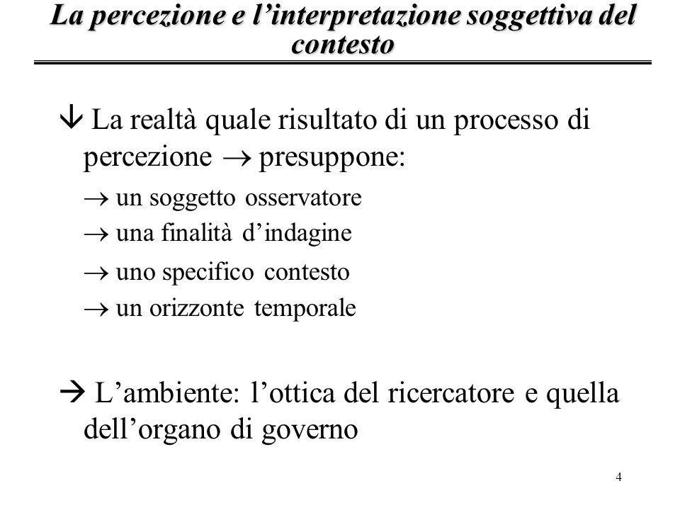 4 â La realtà quale risultato di un processo di percezione presuppone: un soggetto osservatore una finalità dindagine uno specifico contesto un orizzo