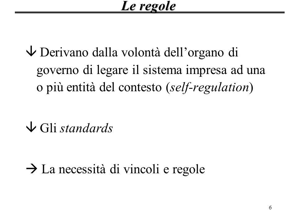 6 â Derivano dalla volontà dellorgano di governo di legare il sistema impresa ad una o più entità del contesto (self-regulation) â Gli standards La ne