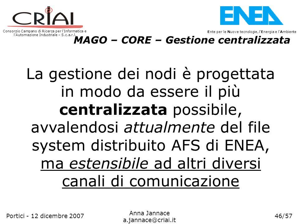 Consorzio Campano di Ricerca per lInformatica e lAutomazione Industriale – S.c.a.r.l. 46/57 Ente per le Nuove tecnologie, l'Energia e l'Ambiente Anna