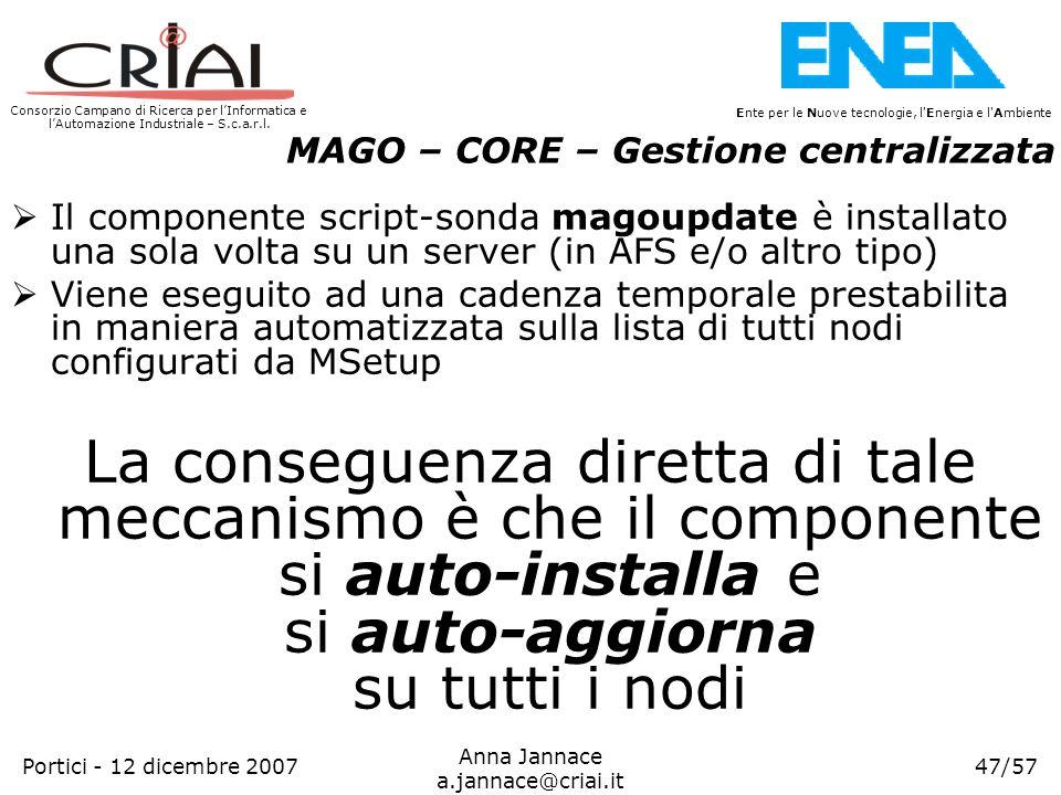 Consorzio Campano di Ricerca per lInformatica e lAutomazione Industriale – S.c.a.r.l. 47/57 Ente per le Nuove tecnologie, l'Energia e l'Ambiente Anna