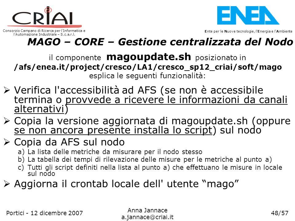 Consorzio Campano di Ricerca per lInformatica e lAutomazione Industriale – S.c.a.r.l. 48/57 Ente per le Nuove tecnologie, l'Energia e l'Ambiente Anna