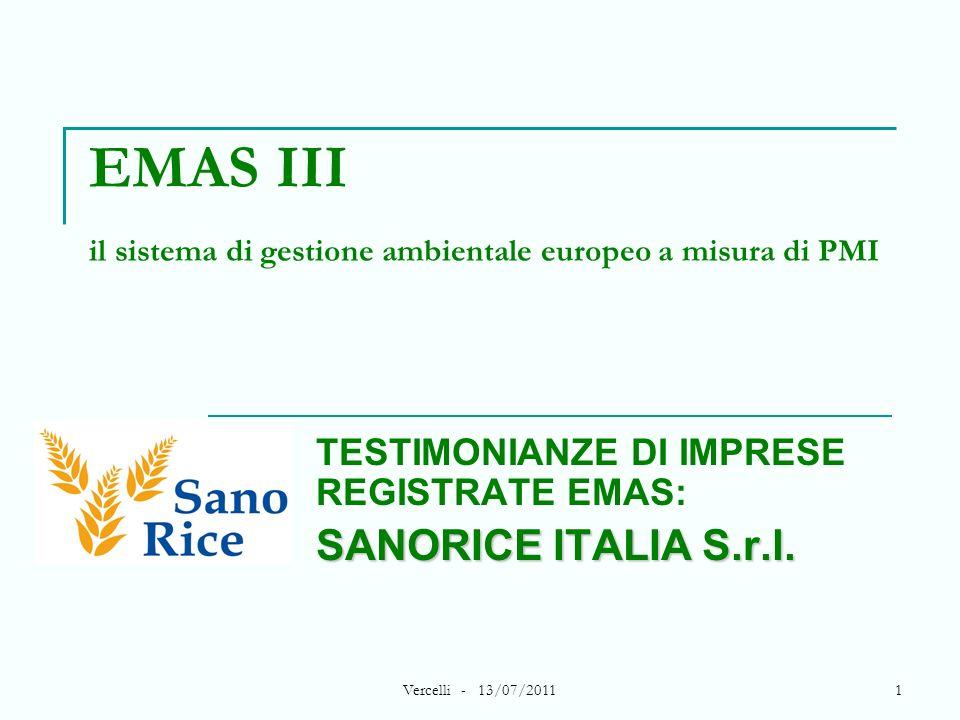 Vercelli - 13/07/20111 EMAS III il sistema di gestione ambientale europeo a misura di PMI TESTIMONIANZE DI IMPRESE REGISTRATE EMAS: SANORICE ITALIA S.