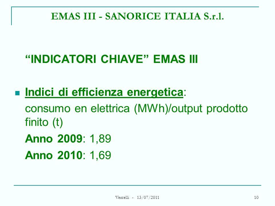Vercelli - 13/07/2011 10 EMAS III - SANORICE ITALIA S.r.l. INDICATORI CHIAVE EMAS III Indici di efficienza energetica: consumo en elettrica (MWh)/outp
