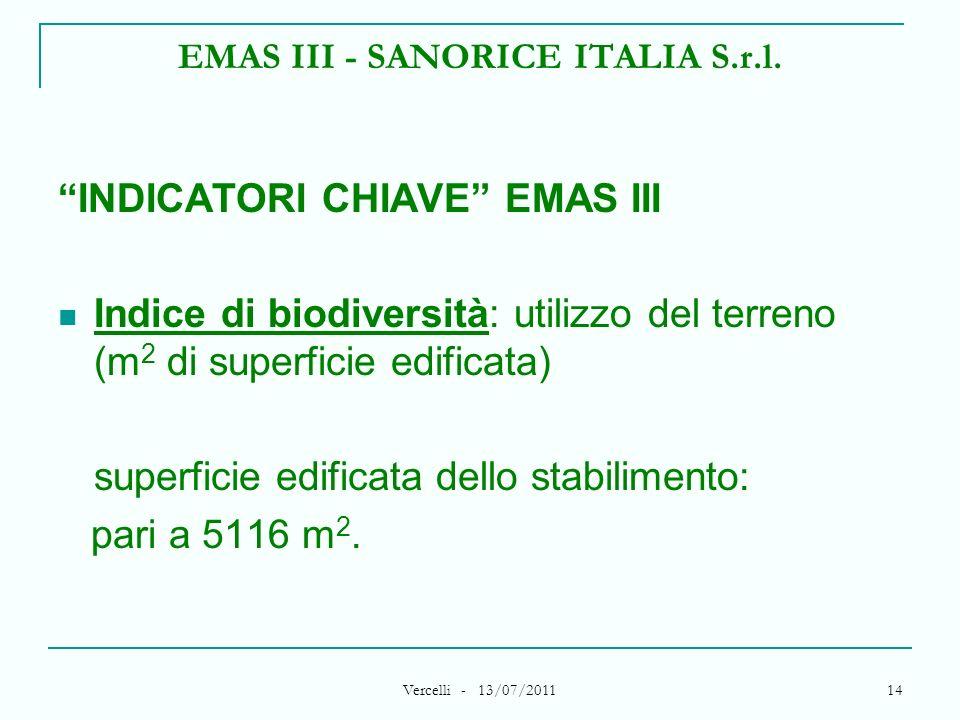 Vercelli - 13/07/2011 14 EMAS III - SANORICE ITALIA S.r.l. INDICATORI CHIAVE EMAS III Indice di biodiversità: utilizzo del terreno (m 2 di superficie