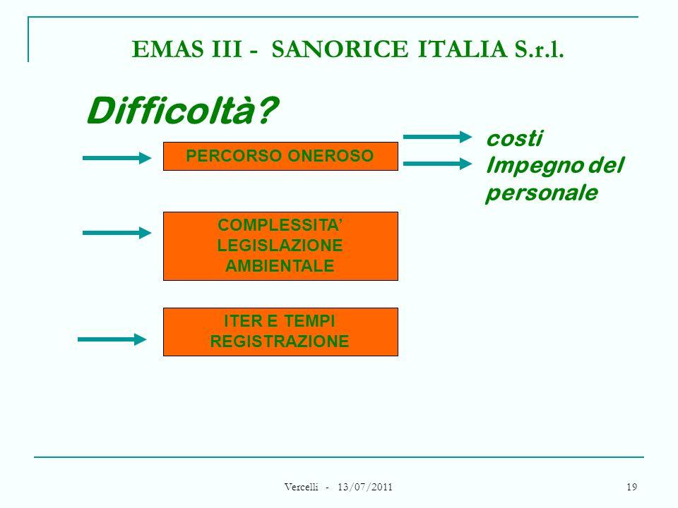 Vercelli - 13/07/2011 19 EMAS III - SANORICE ITALIA S.r.l. PERCORSO ONEROSO Difficoltà? COMPLESSITA LEGISLAZIONE AMBIENTALE ITER E TEMPI REGISTRAZIONE