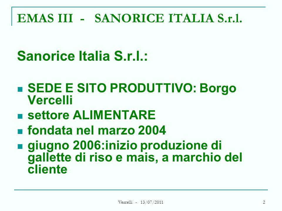 Vercelli - 13/07/2011 2 EMAS III - SANORICE ITALIA S.r.l. Sanorice Italia S.r.l.: SEDE E SITO PRODUTTIVO: Borgo Vercelli settore ALIMENTARE fondata ne