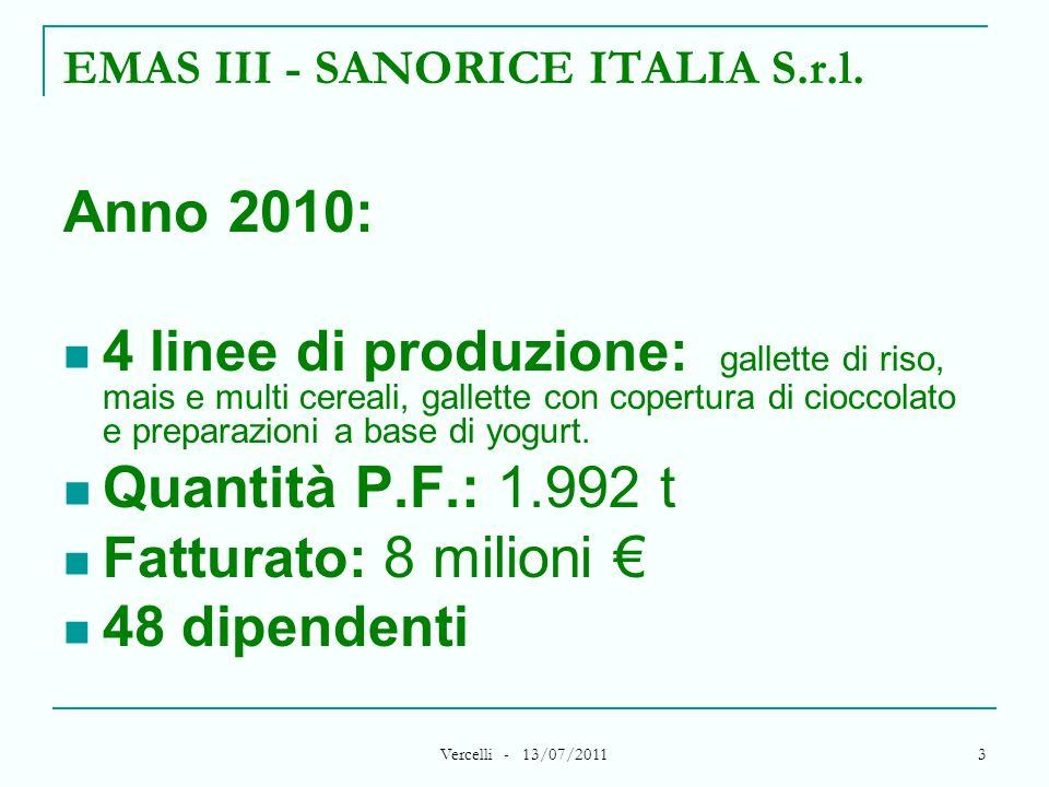 Vercelli - 13/07/2011 3 EMAS III - SANORICE ITALIA S.r.l. Anno 2010: 4 linee di produzione: gallette di riso, mais e multi cereali, gallette con coper