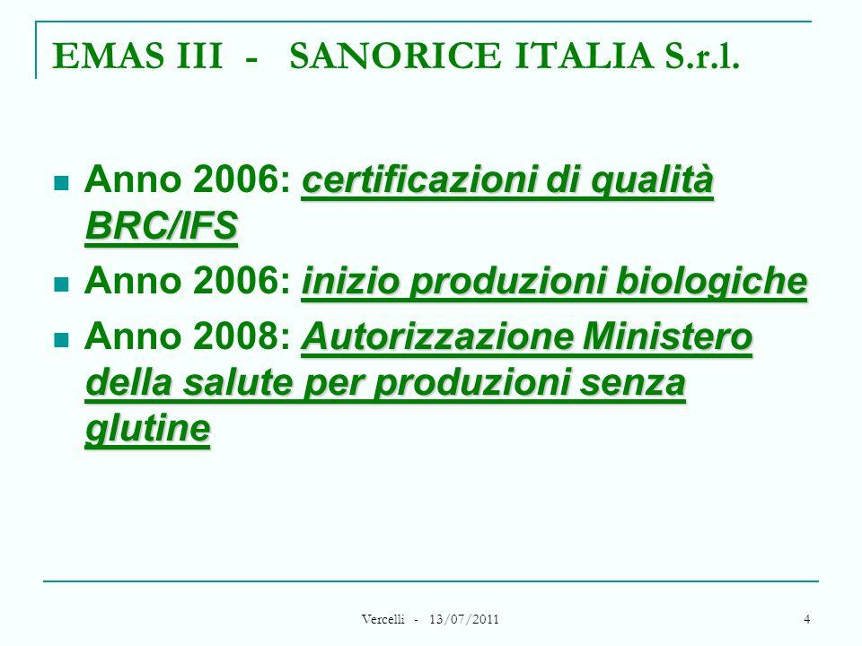 Vercelli - 13/07/2011 4 EMAS III - SANORICE ITALIA S.r.l. certificazioni di qualità BRC/IFS Anno 2006: certificazioni di qualità BRC/IFS inizio produz