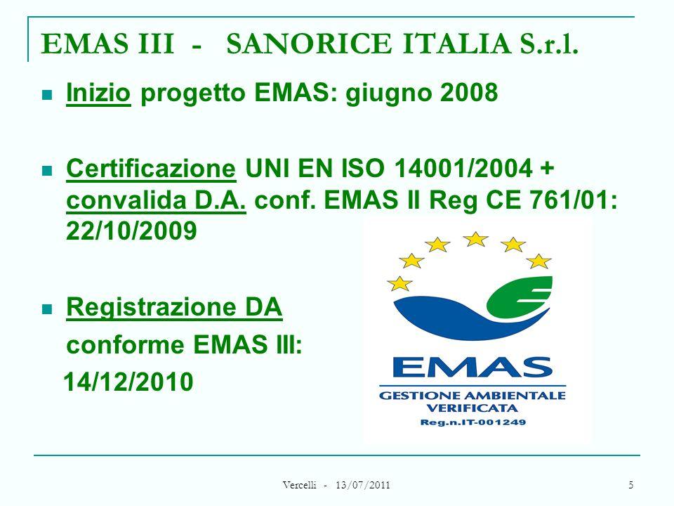 Vercelli - 13/07/2011 5 EMAS III - SANORICE ITALIA S.r.l. Inizio progetto EMAS: giugno 2008 Certificazione UNI EN ISO 14001/2004 + convalida D.A. conf