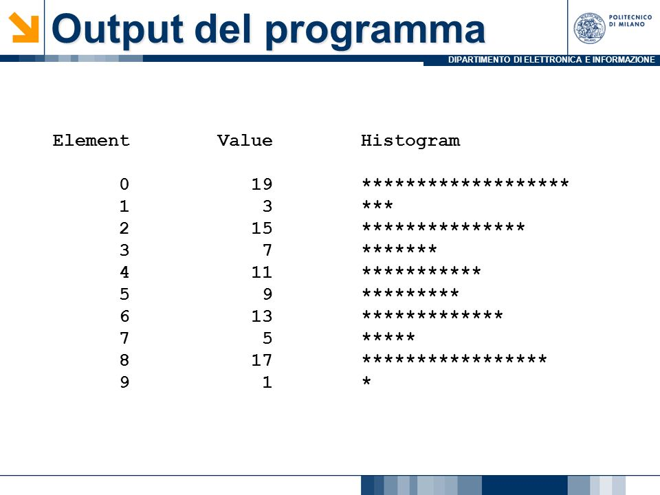 DIPARTIMENTO DI ELETTRONICA E INFORMAZIONE Element Value Histogram 0 19 ******************* 1 3 *** 2 15 *************** 3 7 ******* 4 11 *********** 5 9 ********* 6 13 ************* 7 5 ***** 8 17 ***************** 9 1 * Output del programma