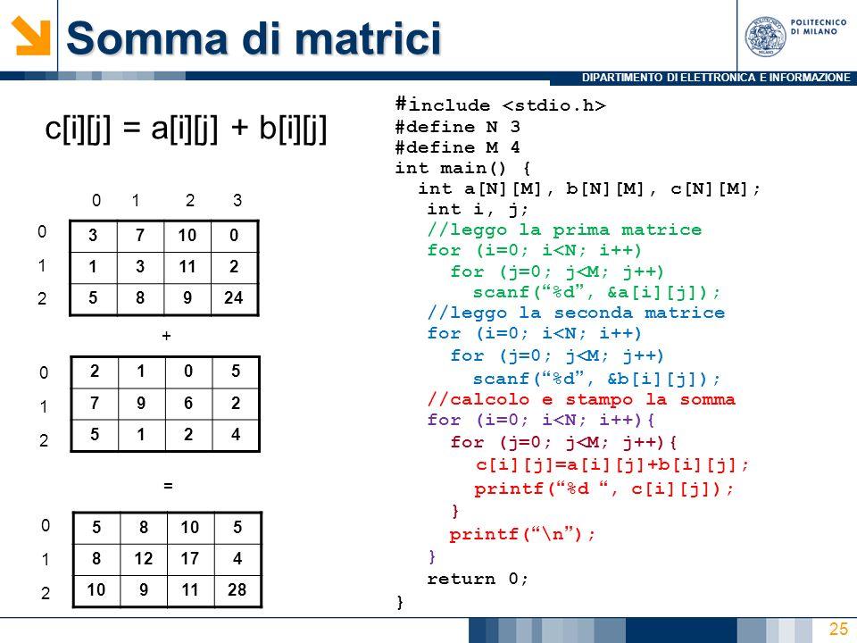 DIPARTIMENTO DI ELETTRONICA E INFORMAZIONE Somma di matrici 37100 13112 58924 0 1 2 0123 2105 7962 5124 + = 58105 812174 1091128 c[i][j] = a[i][j] + b[i][j] #i nclude #define N 3 #define M 4 int main() { int a[N][M], b[N][M], c[N][M]; int i, j; //leggo la prima matrice for (i=0; i<N; i++) for (j=0; j<M; j++) scanf(%d, &a[i][j]); //leggo la seconda matrice for (i=0; i<N; i++) for (j=0; j<M; j++) scanf(%d, &b[i][j]); //calcolo e stampo la somma for (i=0; i<N; i++){ for (j=0; j<M; j++){ c[i][j]=a[i][j]+b[i][j]; printf(%d, c[i][j]); } printf(\n); } return 0; } 0 1 2 0 1 2 25