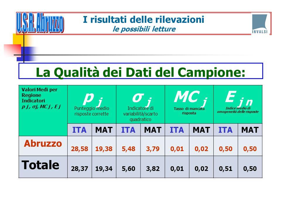 La Qualità dei Dati del Campione: Valori Medi per Regione Indicatori p j, σj, MC j, E j p j Punteggio medio risposte corrette σ j Indicatore di variab