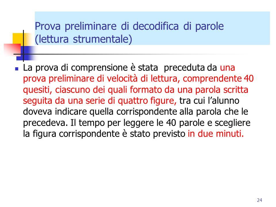 Prova preliminare di decodifica di parole (lettura strumentale) La prova di comprensione è stata preceduta da una prova preliminare di velocità di let