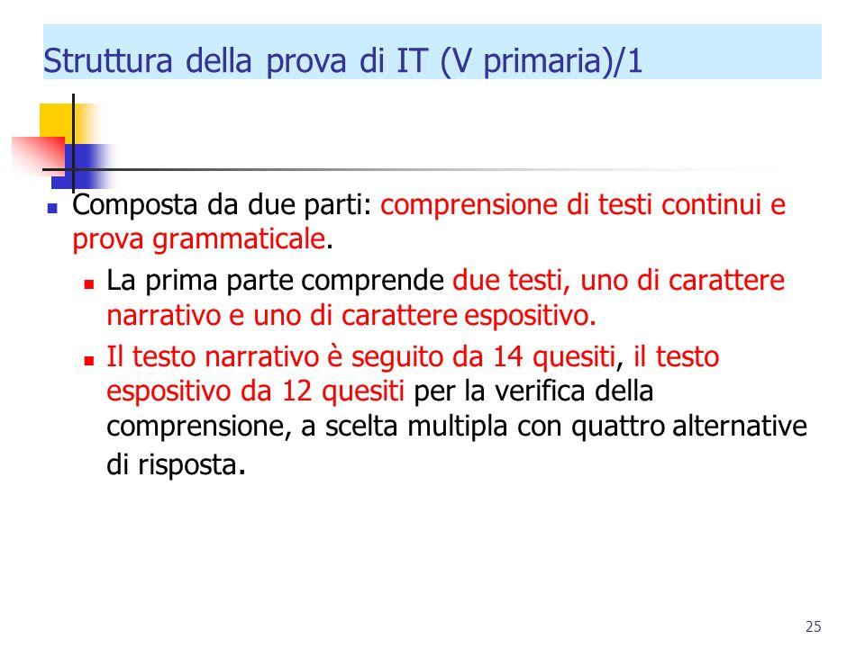 Struttura della prova di IT (V primaria)/1 Composta da due parti: comprensione di testi continui e prova grammaticale. La prima parte comprende due te