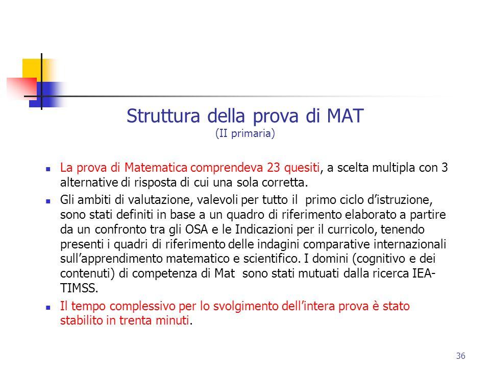 Struttura della prova di MAT (II primaria) La prova di Matematica comprendeva 23 quesiti, a scelta multipla con 3 alternative di risposta di cui una s