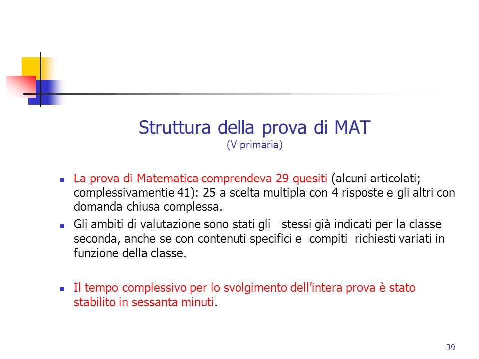 Struttura della prova di MAT (V primaria) La prova di Matematica comprendeva 29 quesiti (alcuni articolati; complessivamentie 41): 25 a scelta multipl