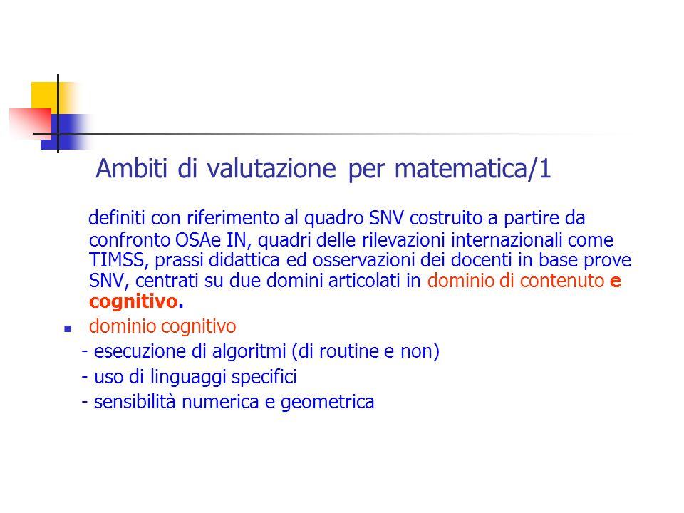 Ambiti di valutazione per matematica/1 definiti con riferimento al quadro SNV costruito a partire da confronto OSAe IN, quadri delle rilevazioni inter