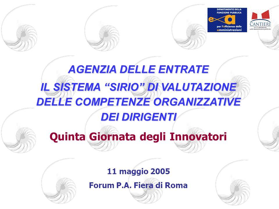 AGENZIA DELLE ENTRATE IL SISTEMA SIRIO DI VALUTAZIONE DELLE COMPETENZE ORGANIZZATIVE DEI DIRIGENTI Quinta Giornata degli Innovatori 11 maggio 2005 For