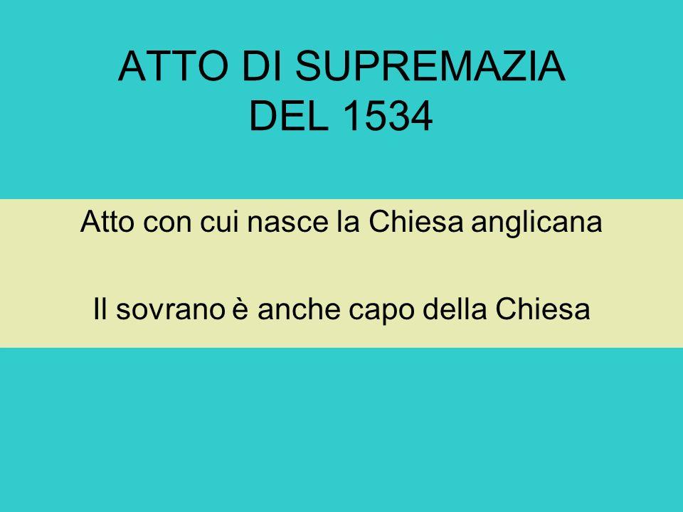 ATTO DI SUPREMAZIA DEL 1534 Atto con cui nasce la Chiesa anglicana Il sovrano è anche capo della Chiesa