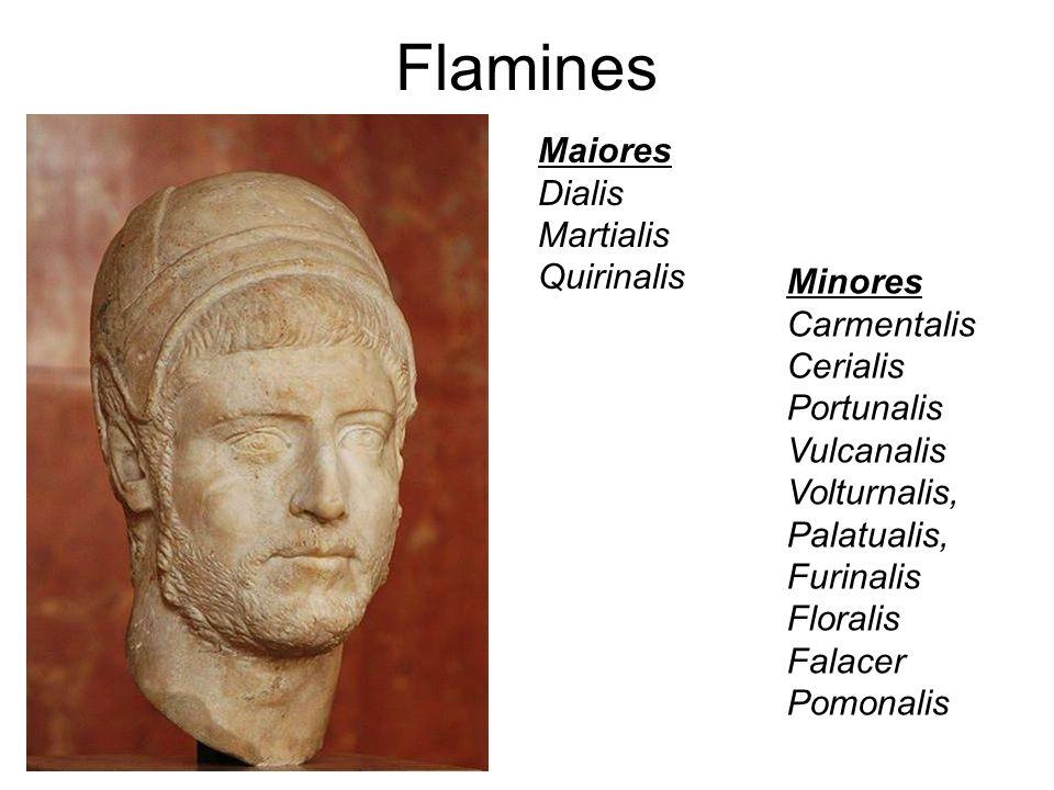 Flamines Maiores Dialis Martialis Quirinalis Minores Carmentalis Cerialis Portunalis Vulcanalis Volturnalis, Palatualis, Furinalis Floralis Falacer Po